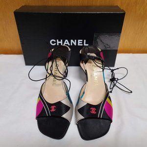 Chanel Black and Multi-color Satin Sandal/Heels